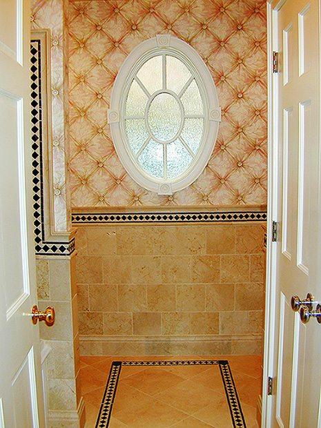 Bath Tile with Custom Oval Window