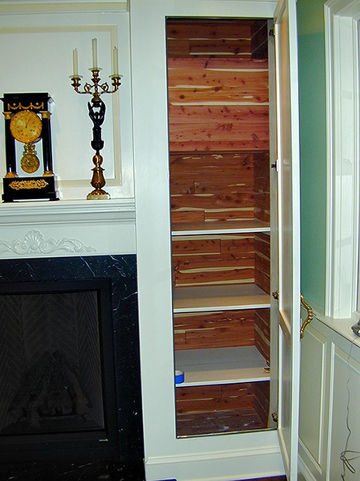 Gas Fireplace with Cedar Lined Cabinets